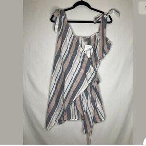 Asos Womens Size 12 Stripe Cotton Tunic Wrap Top